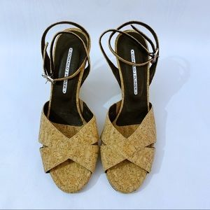 Donald J Pliner Cork Wedge Sandals w/Ankle Straps